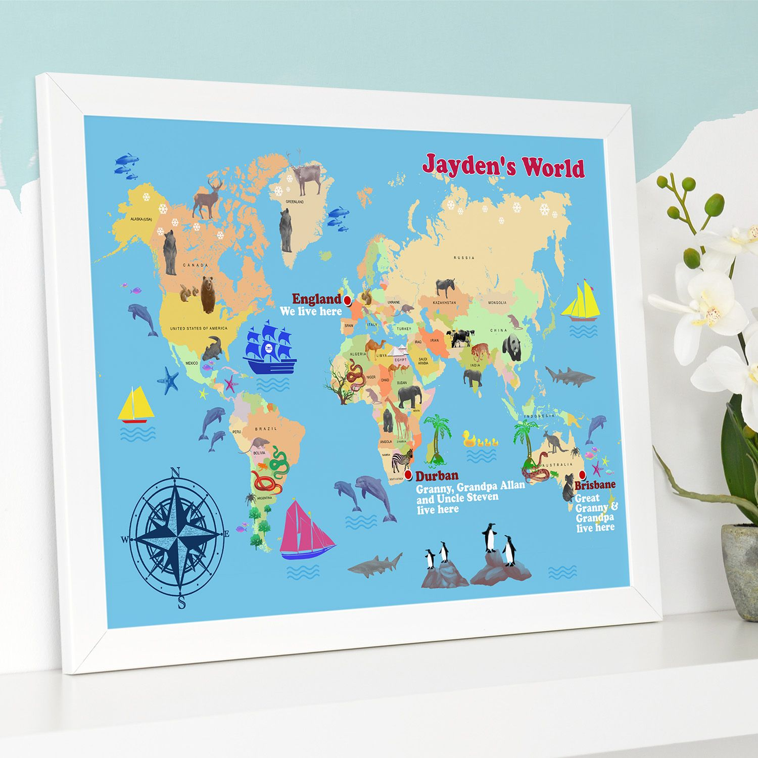 Personalised Child S World Map Print - World map please